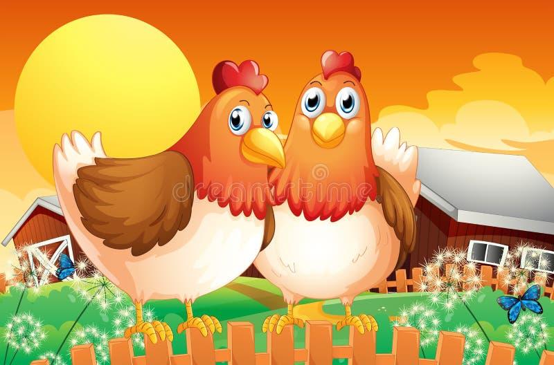 Ein Bauernhof mit zwei Hennen über dem Zaun stock abbildung