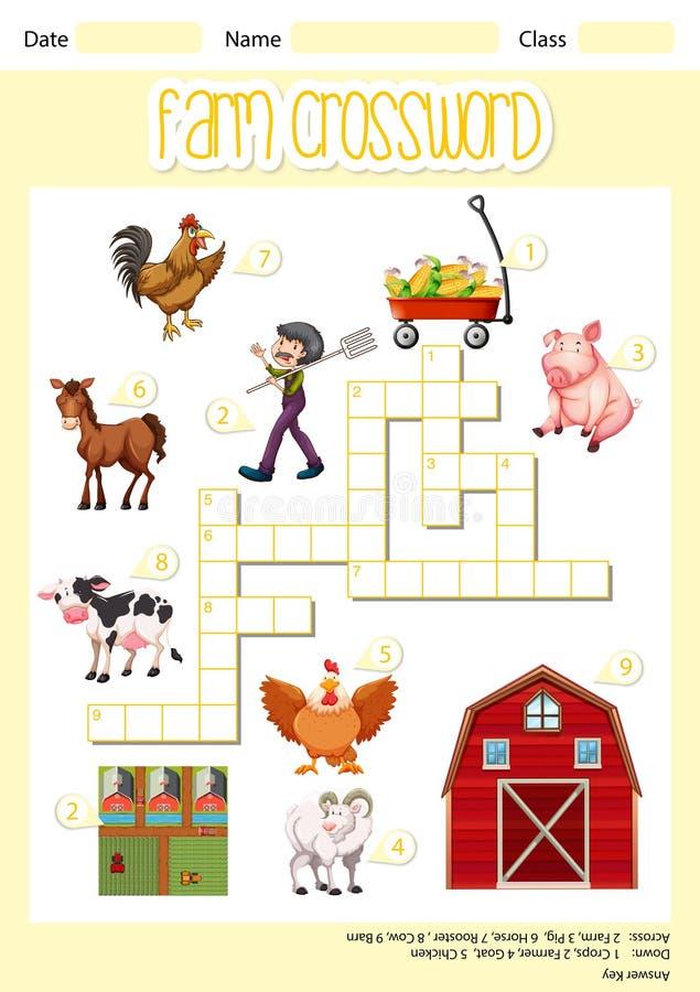 Ein Bauernhofkreuzworträtselblatt lizenzfreie abbildung