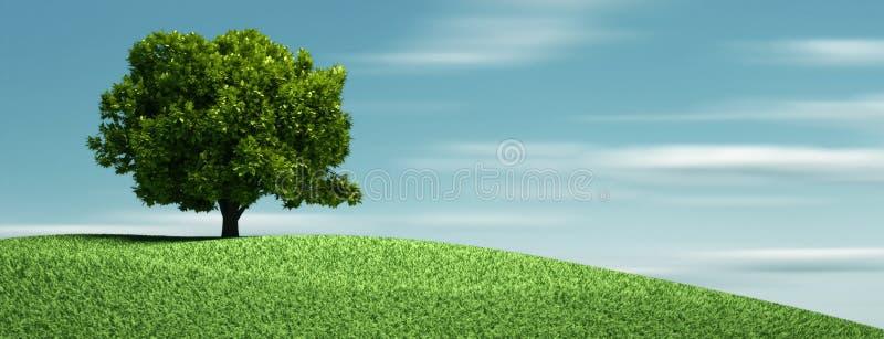 Ein Baum auf Hügel vektor abbildung
