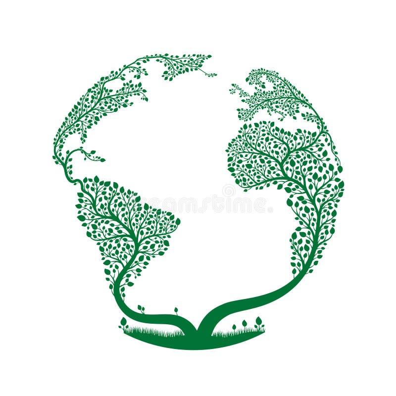 Ein Baum geformt in Form von Planet Erde Vektor-Ökologiekonzept stock abbildung