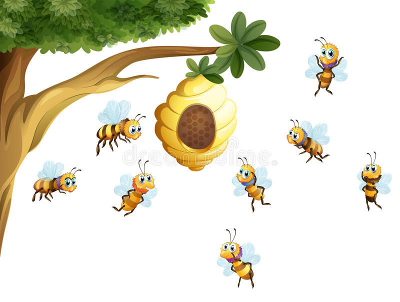 Ein Baum mit einem Bienenstock umgeben durch Bienen lizenzfreie abbildung