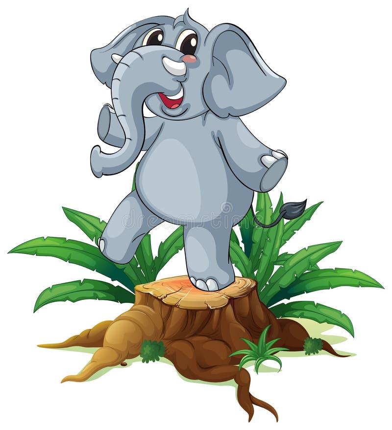 Ein Baum mit einem jungen grauen Elefanten stock abbildung
