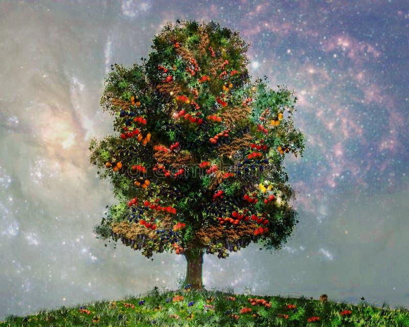 ein Baum mit verschiedenen Früchten, Bananen, Orangen, Äpfel, Tomaten, Beeren stockfoto