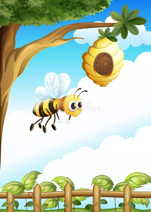 Ein Baum nahe dem Zaun mit einem Bienenstock und einer Biene vektor abbildung