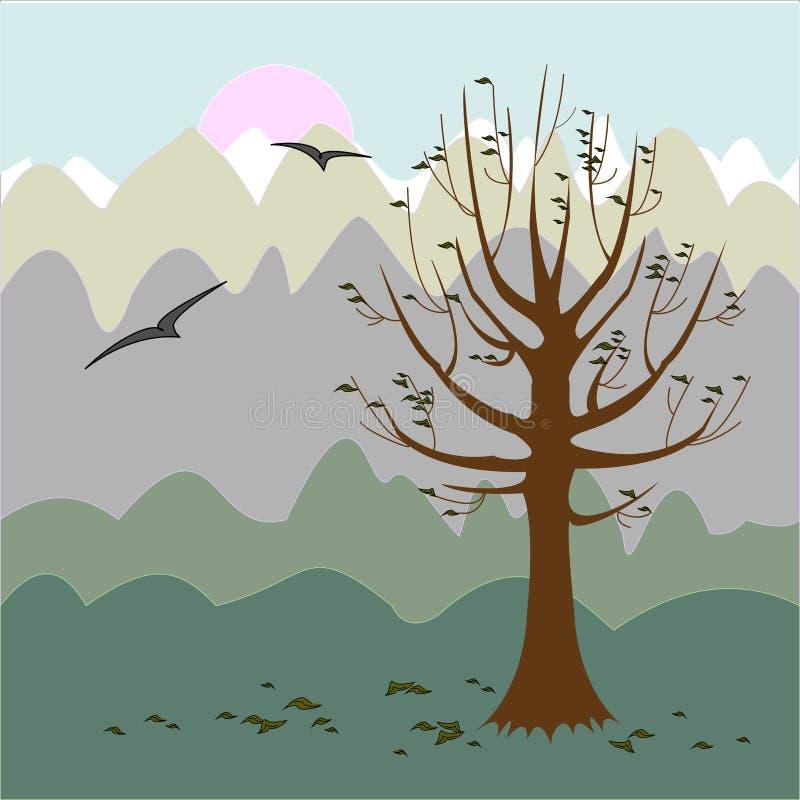 Ein Baum ohne Bl?tter Philosophische Stimmung Rot und Orange f?rbt Efeublattnahaufnahme Auch im corel abgehobenen Betrag stock abbildung