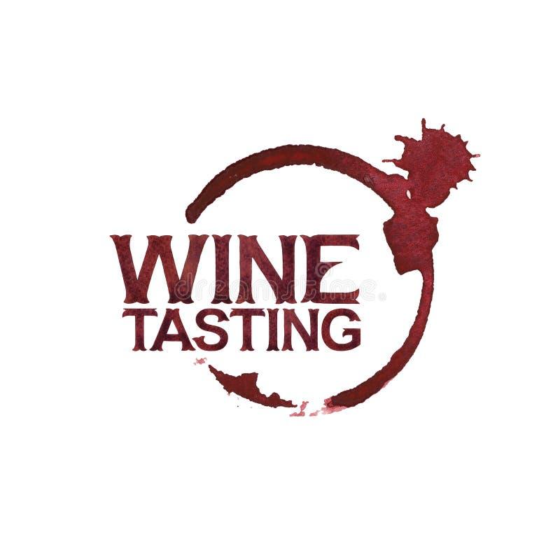 Ein Becher Wein in der Hand Aquarellwörter über dem Weinglasfleck lizenzfreie abbildung