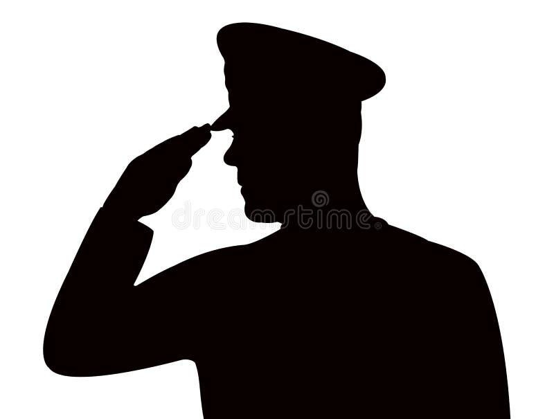 Ein begrüßender Soldat, Schattenbild lizenzfreie abbildung