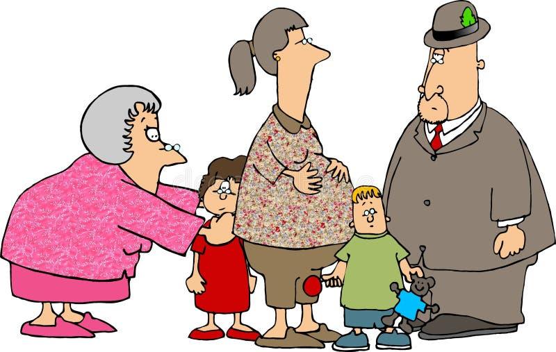 Ein Besuch mit den Großeltern stock abbildung