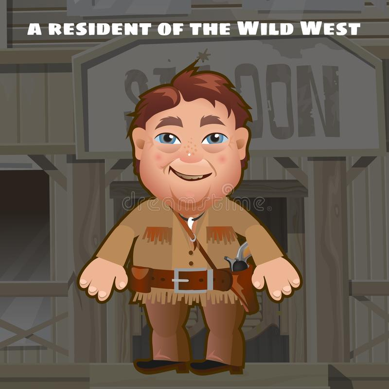 Ein Bewohner des wilden Westens, den ein bewaffneter Mann im Hintergrund des Eingangs zum Saal steht Lustiger lebhafter Mann Vekt stock abbildung