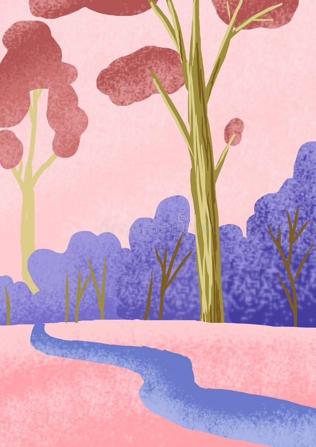 Ein Bild der Natur, der Landschaft mit Bäumen, des Rosas und des Purpurs in der Natur, eine Skizze des Geländes Illustration des  lizenzfreie abbildung