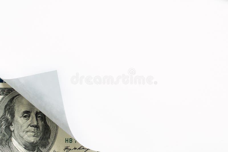 Ein Bild der Papierlocke und hundert Dollarscheins lizenzfreie stockfotografie