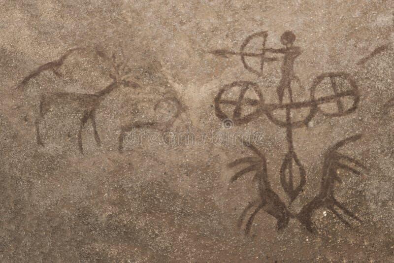 Ein Bild einer Jagdszene eines alten Mannes auf einer Höhlenwand vektor abbildung
