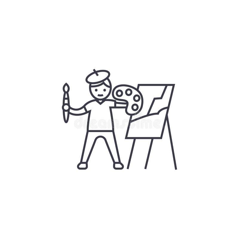 Ein Bild malend, vector Linie Ikone, Zeichen, Illustration auf Hintergrund, editable Anschläge lizenzfreie abbildung