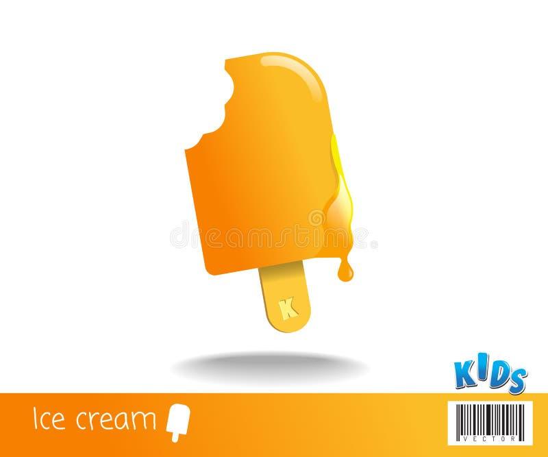 Ein Biss der Eiscreme lizenzfreie abbildung
