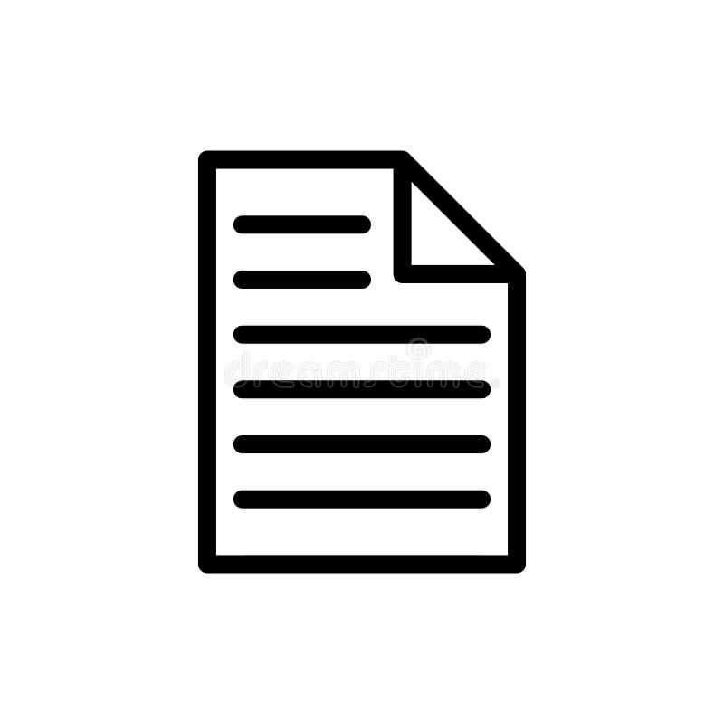 ein Blatt Dokumentenikone für Muster und Design, Vektor illustr stock abbildung