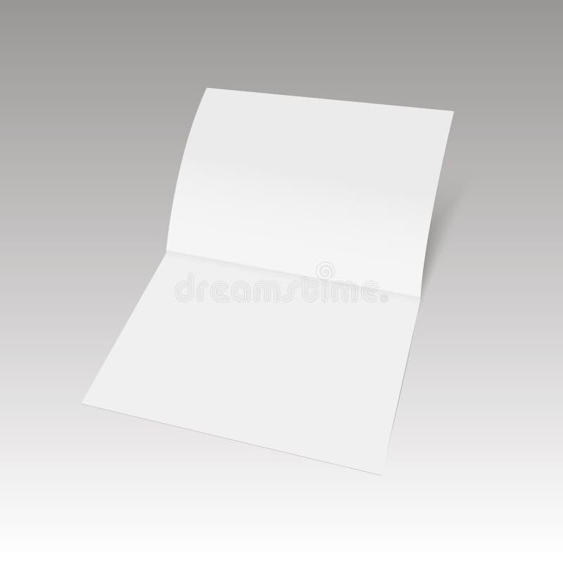 Ein Blatt Papier gefaltet zur Hälfte Spott herauf Schablone Auch im corel abgehobenen Betrag vektor abbildung