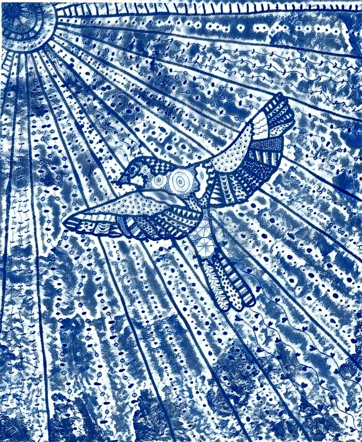 Ein blauer Vogel mit der Sonne lizenzfreies stockbild