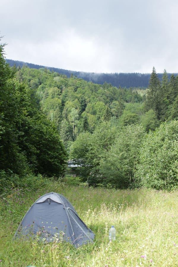Ein blaues touristisches Zelt steht auf einem Rasen, der durch ein Gebirgsla umgeben wird lizenzfreies stockbild