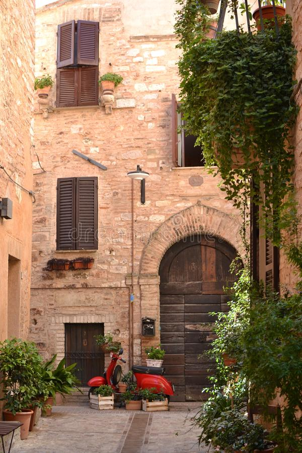 Ein Blick auf Spello in Umbrien - Italien stockfoto