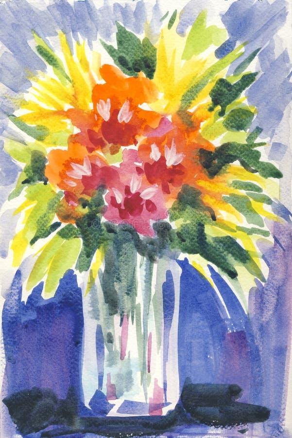 Ein Blumenstrauß von Blumen lizenzfreie abbildung