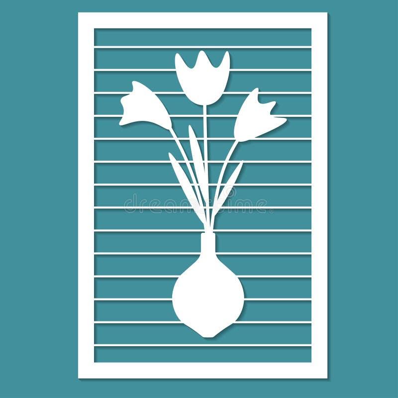 Ein Blumenstrauß von Blumen, Karte für Laser-Ausschnitt Dekorative Dekoration lizenzfreie abbildung
