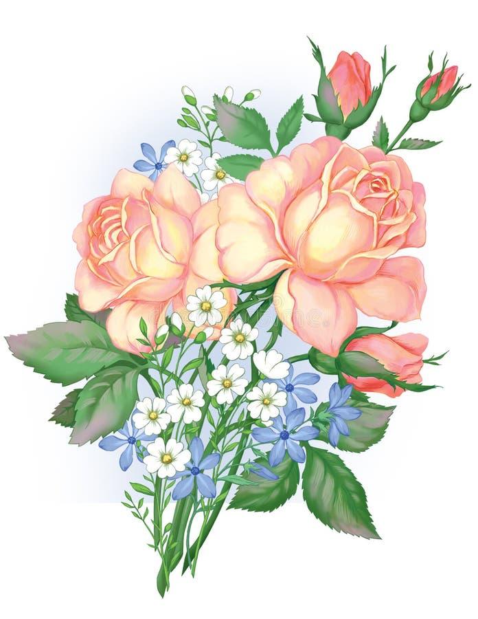 Ein Blumenstrauß von schönen gelben Rosen lizenzfreie abbildung