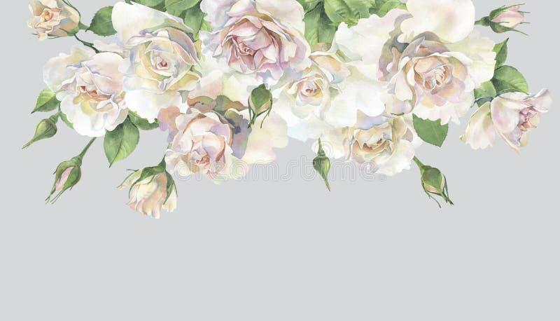Ein Blumenstrauß von schönen Rosen stock abbildung