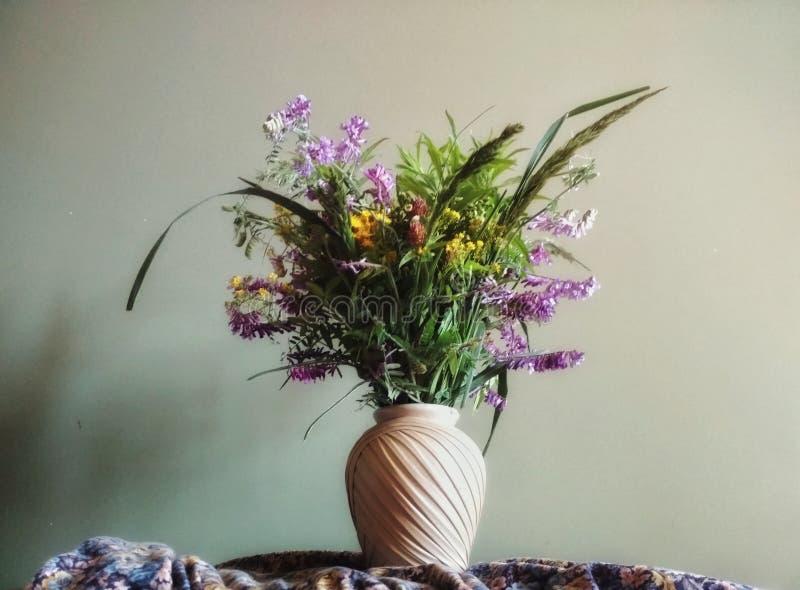 Ein Blumenstrauß von wilden Blumen in einem schönen Vase beige Farbe gegen einen grünen Wandhintergrund stockbild