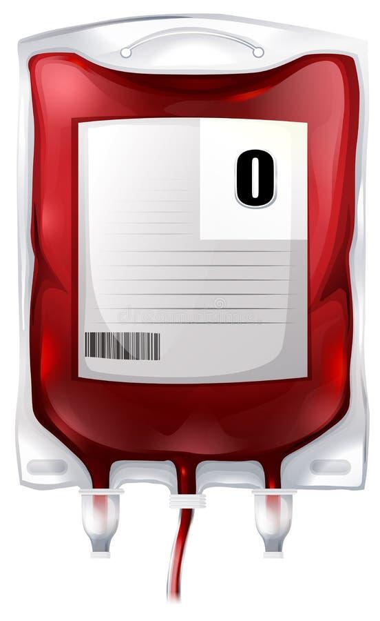Ein Blutbeutel mit Art O-Blut stock abbildung