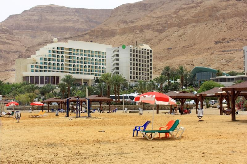 Ein Bokek beach on the Dead Sea royalty free stock images