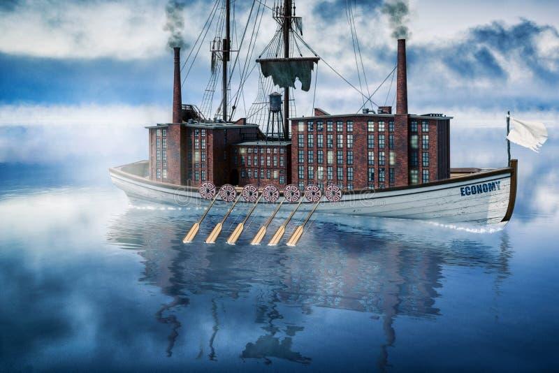 Ein Boot mit der Industrie an Bord lizenzfreies stockfoto