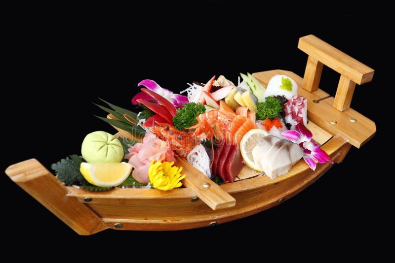 Ein Boot von Sushi stockfotografie