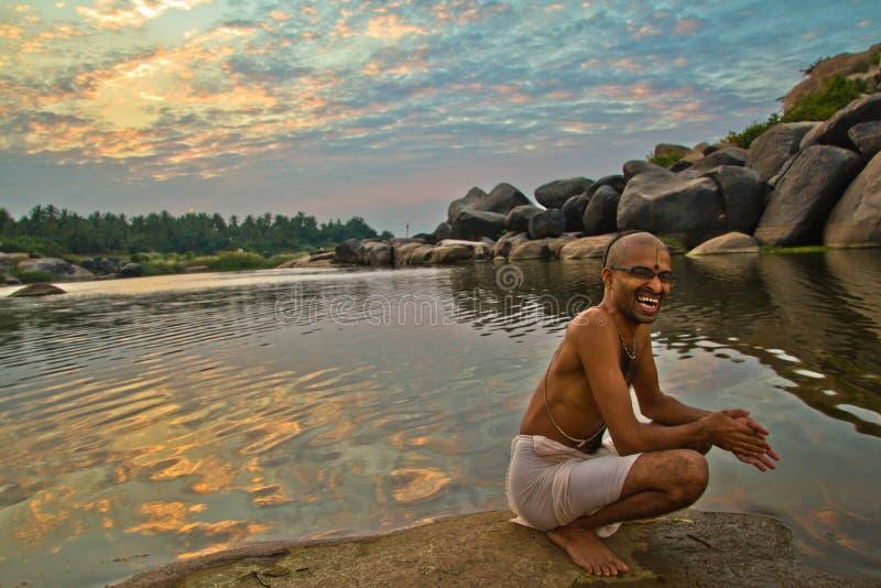 Ein Brahmane von Hampi, Karnataka, Indien stockfoto