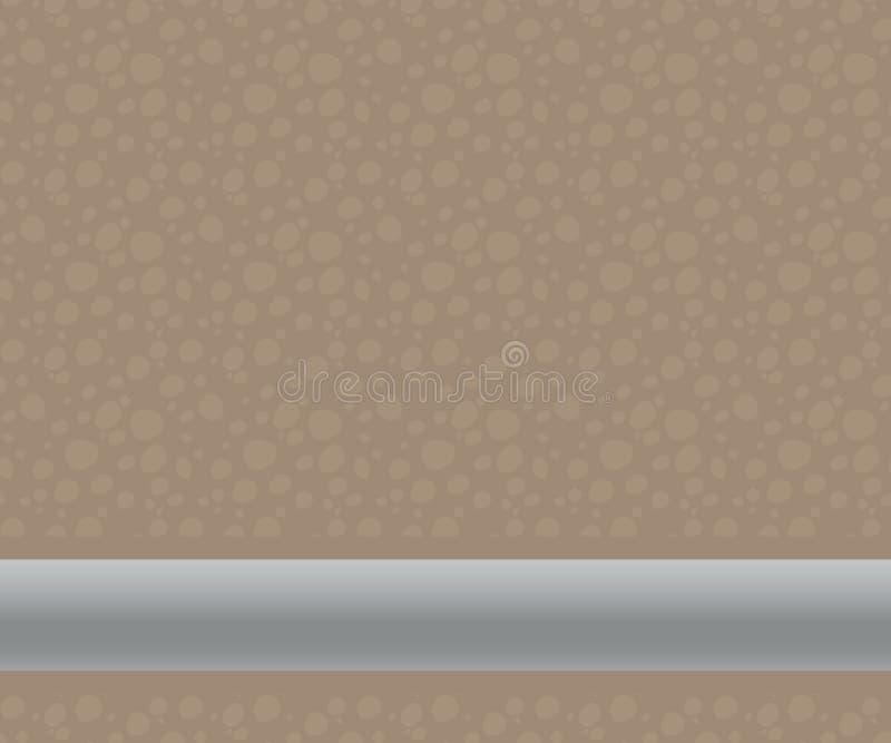 Ein brauner zweifarbiger Schnitt des Bodens unter dem Boden mit helleren runden Steinen oder eine Heizung und ein hellgraues Meta lizenzfreie abbildung