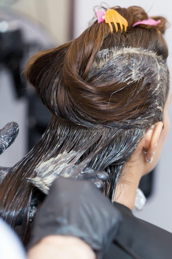 Ein Brunettemädchen, das ihre Haarfärbung hat stockbilder
