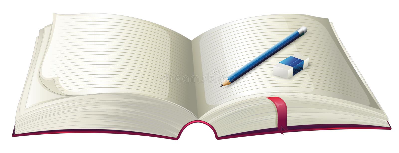 Ein Buch mit einem Bleistift und einem Radiergummi vektor abbildung