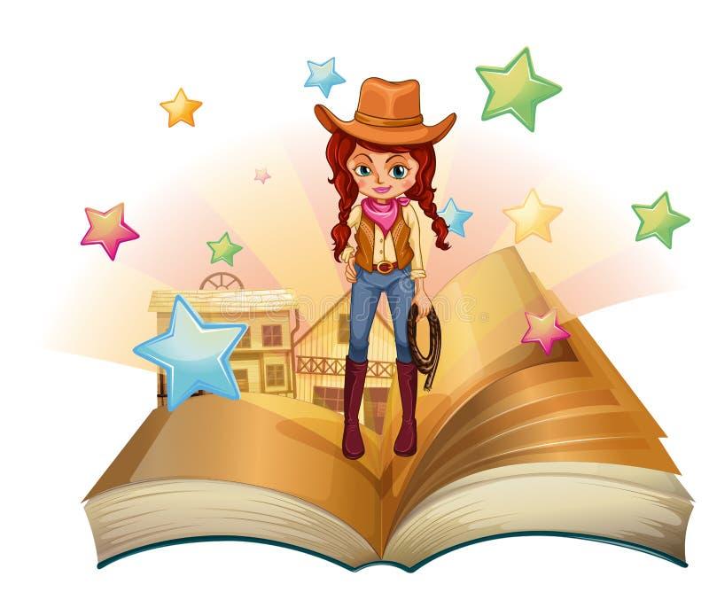 Ein Buch mit einem hübschen Cowgirl stock abbildung