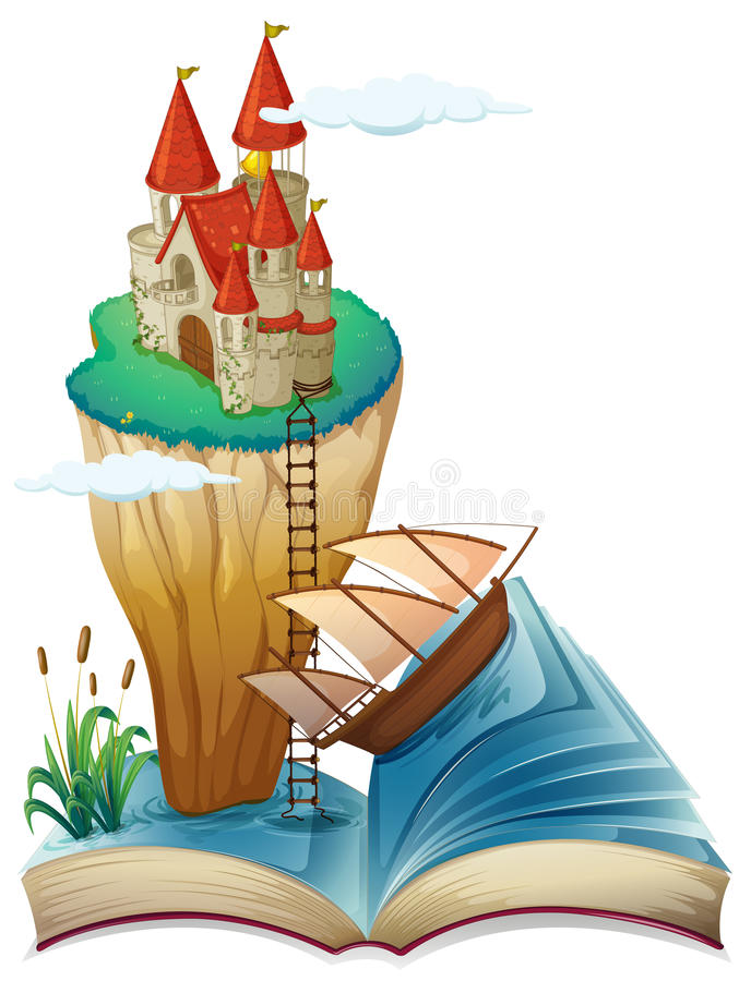 Ein Buch mit einem Schloss an der Spitze einer Klippe stock abbildung