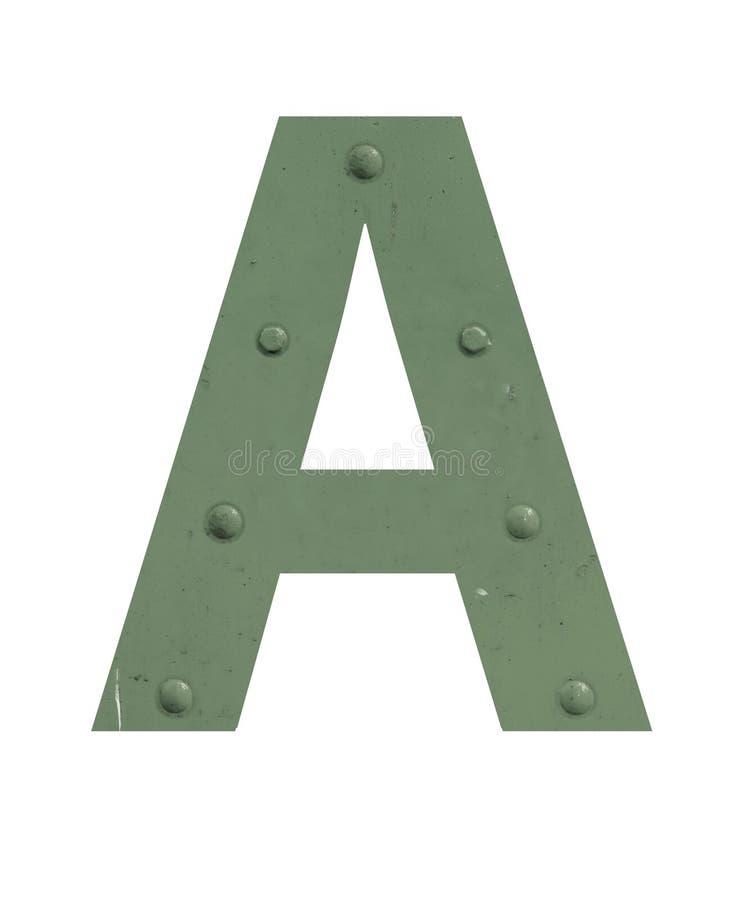Ein Buchstabe im grünen Metall stockfotografie