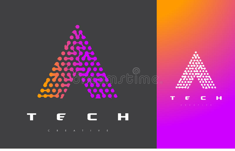Ein Buchstabe Logo Technology Verbundener Dots Letter Design Vector lizenzfreie abbildung