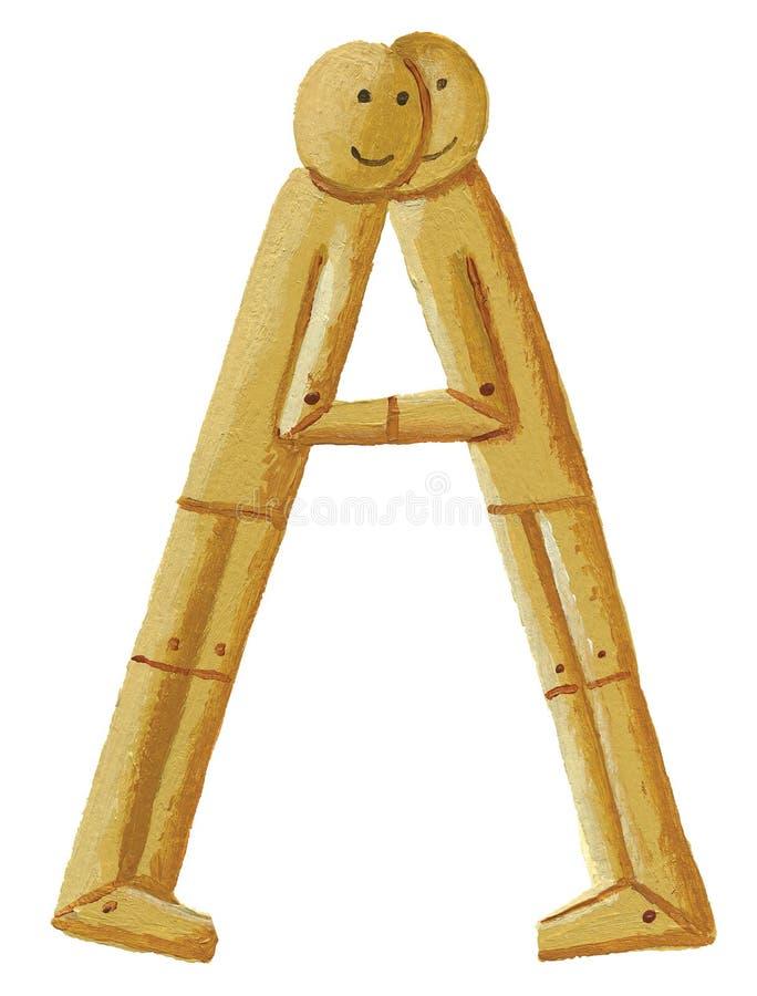 Ein Buchstabe A machte von den hölzernen Puppen stock abbildung