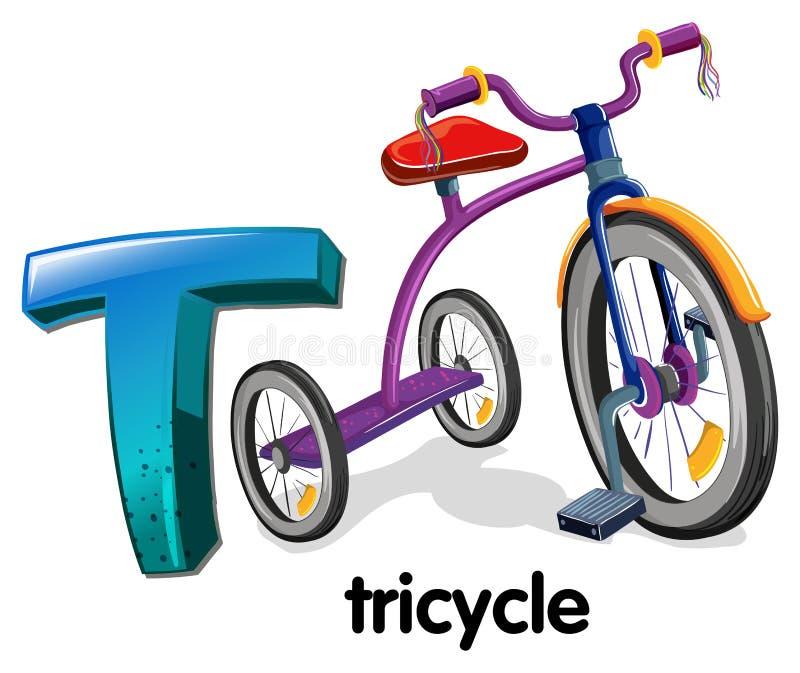 Ein Buchstabe T für Dreirad lizenzfreie abbildung