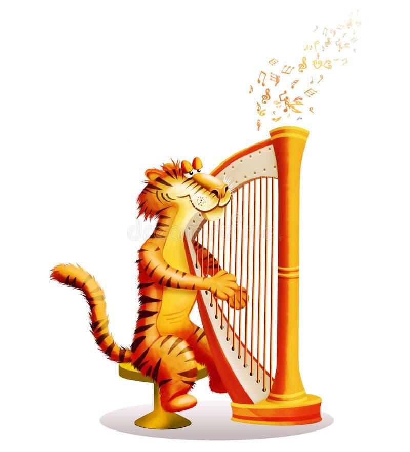 Tiger spielt eine Harfe vektor abbildung