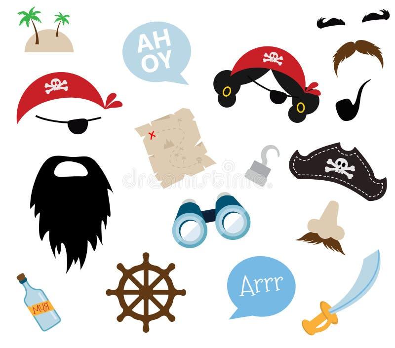 Ein buntes Vektor Thema des Piraten Ausrüstungen, Stützen und Ikonen stock abbildung