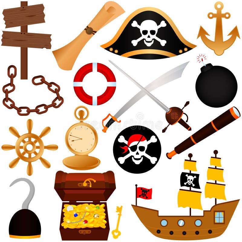 Ein buntes Vektorthema des Piraten, Ausrüstungen, sai lizenzfreie abbildung