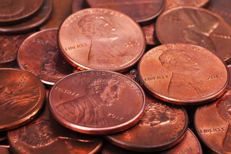 Ein Cent-Münzen lizenzfreie stockfotos