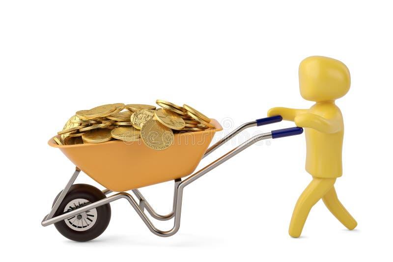 Ein Charakter, der voll Schubkarre von Goldmünzen 3D illustrati drückt lizenzfreie abbildung