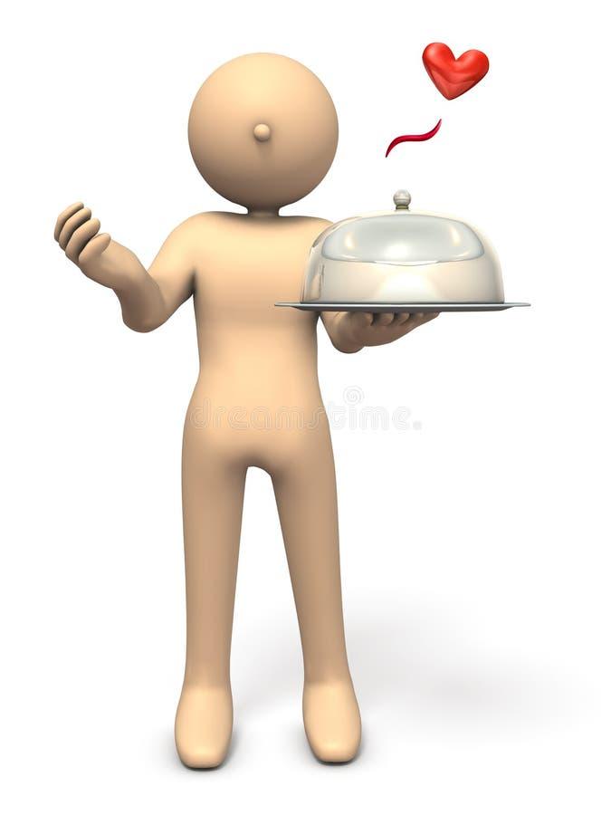 Ein Charakter ist das Bitten und hält einen Koch mit einer Hand stock abbildung