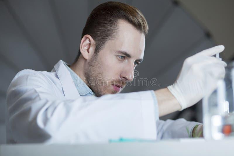 Ein Chemiker arbeitet mit Chemikalien stockfotografie