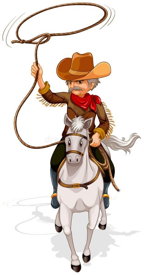 Ein Cowboy, der ein Pferd beim Halten eines Seils reitet vektor abbildung